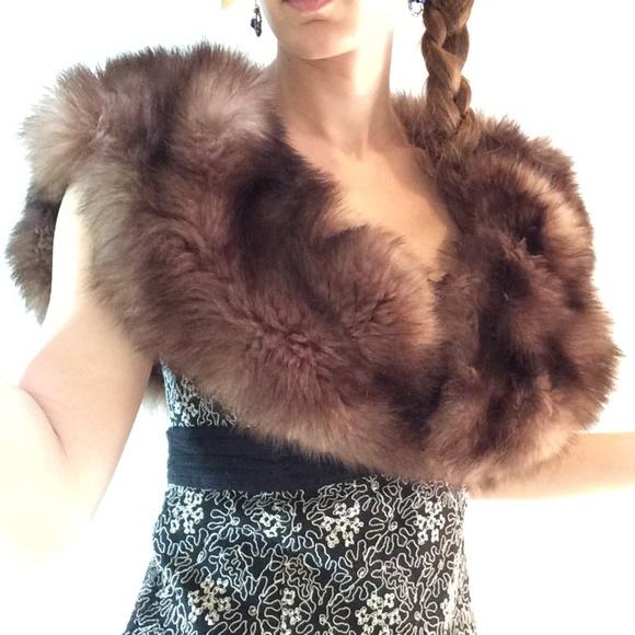 Vintage Jackets & Blazers - Stunning Real Fur Vintage Shawl Cape Stole
